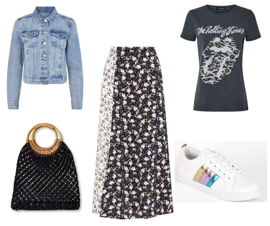 add0ad8eed Denim jacket Midi Skirt T-shirt Trainers Bag Can we just take a moment to  appreciate these sandals.