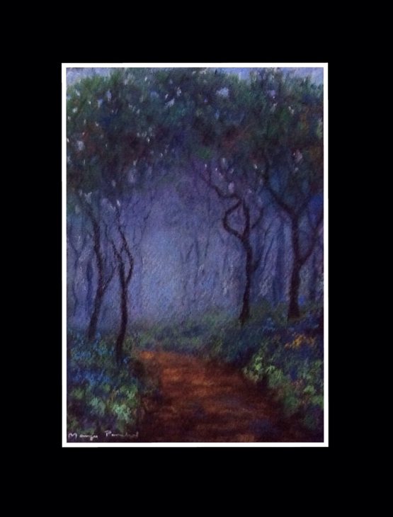 Soft pastel painting of one foggy day in Matheran by Manju Panchal