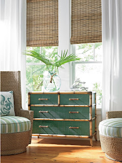 Tommy Bahama twin palms teal chest at bears furniture