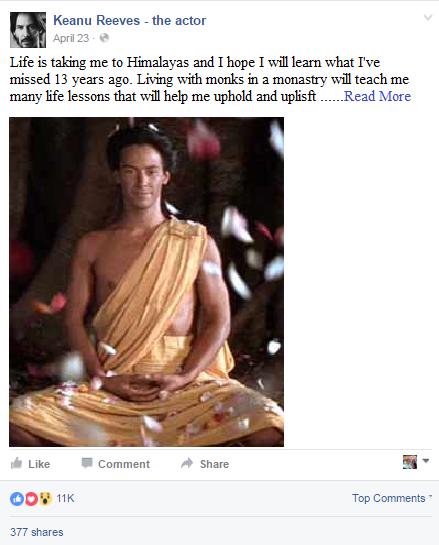 Keanu Reeves Facebook Status