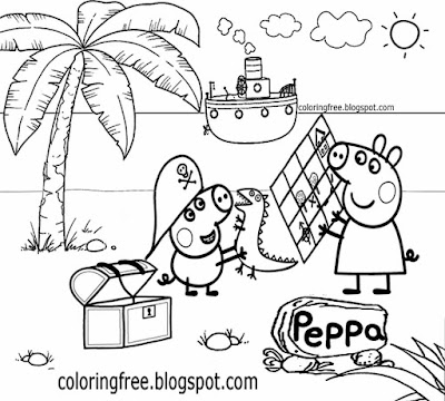printables pirate ship beach george peppa pig colouring pages for preschoolers easy drawing lessons