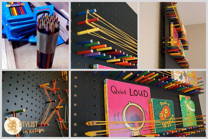 pegboard con lápices de colores