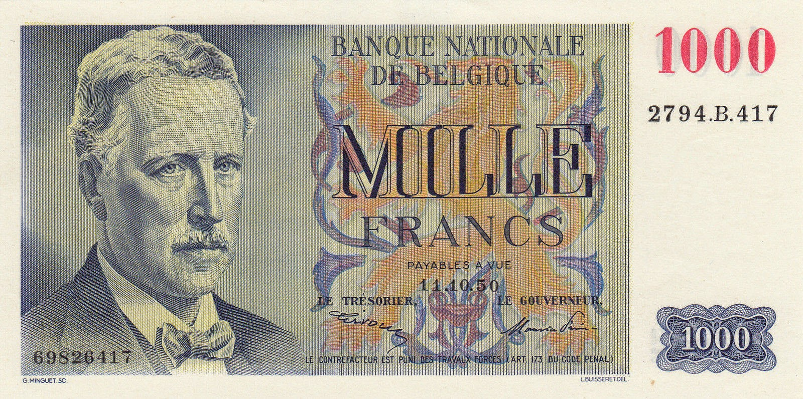 Belgium Banknotes 1000 Francs banknote 1950 King Albert I