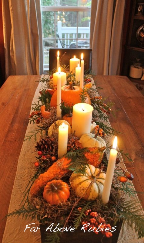Thanksgiving Centerpiece with pumpkins in a wooden box from Far Above Rubies