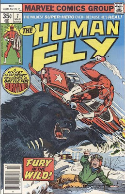 Marvel Comics #7, the Human Fly stuntman leaps of a snowmobile to fight a grizzly bear that is menacing a terrified child