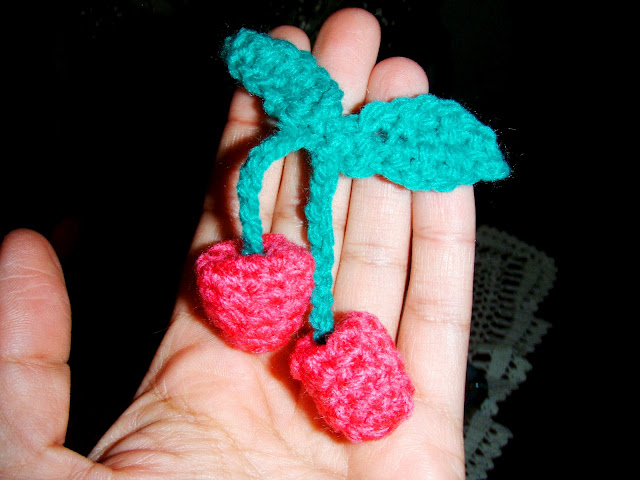 crochet cherries plush toy yarn
