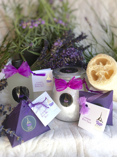 Lavender products for the bath made by Pelindaba Lavender with organic lavender oil