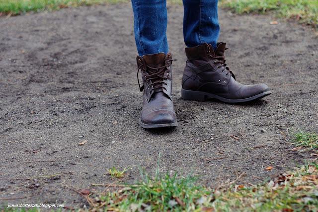 męskie skórzane buty zimowe