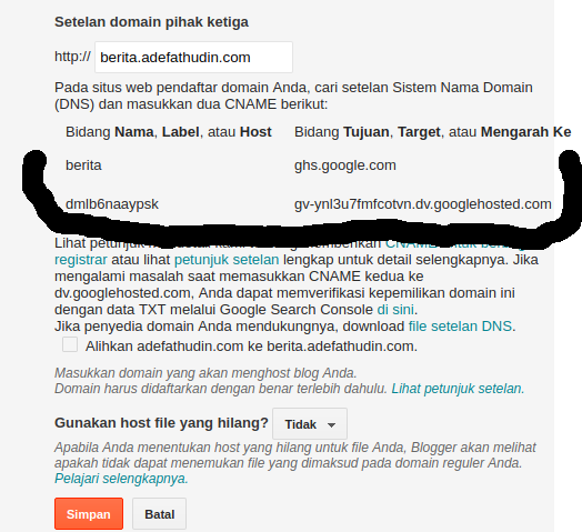Cara Setting Custom SUB Domain ke Blogspot