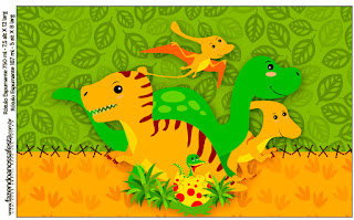 Dinosaurs Party Free Printable Candy Bar Labels.
