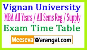 Vignan University MBA All Years / All Sems Reg / Supply Apr-May 2017 Exam Time Table