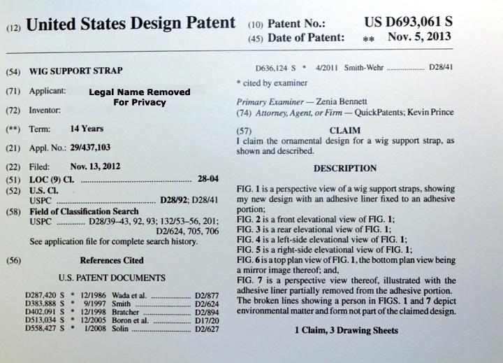 US Patent Lace Wig Straps