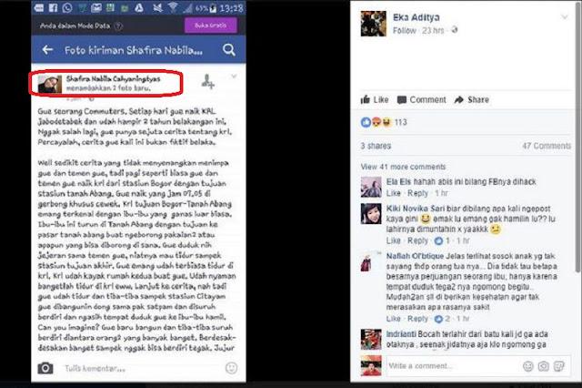 "Miris !! Status Facebook Wanita Ini Isinya Hujatan Pada Ibu Hamil di KRL ! Netizen : ""Emak Lu Gak Hamilin Lu Apa??"""