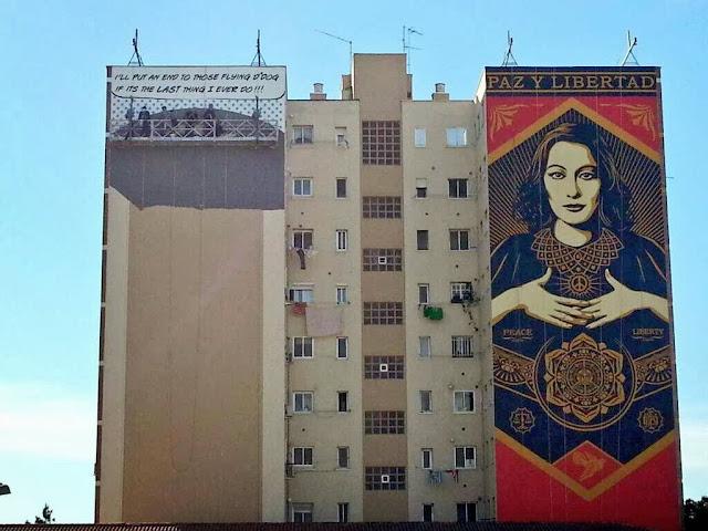 """Paz Y Libertard"" New Street Art Mural By American Artist Shepard Fairey For Maus Malaga In Spain. 1"