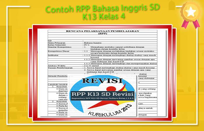RPP Bahasa Inggris SD Kurikulum 2013 Revisi 2017 Kelas 4 Format Doc