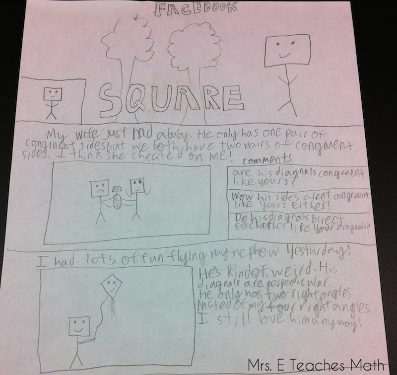 awesome quadrilateral project - kids created a facebook page for a quadrilateral