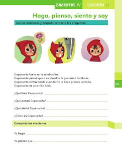 Apoyo Primaria Español 1er grado Bimestre 4 lección 12 Hago, pienso, siento y soy
