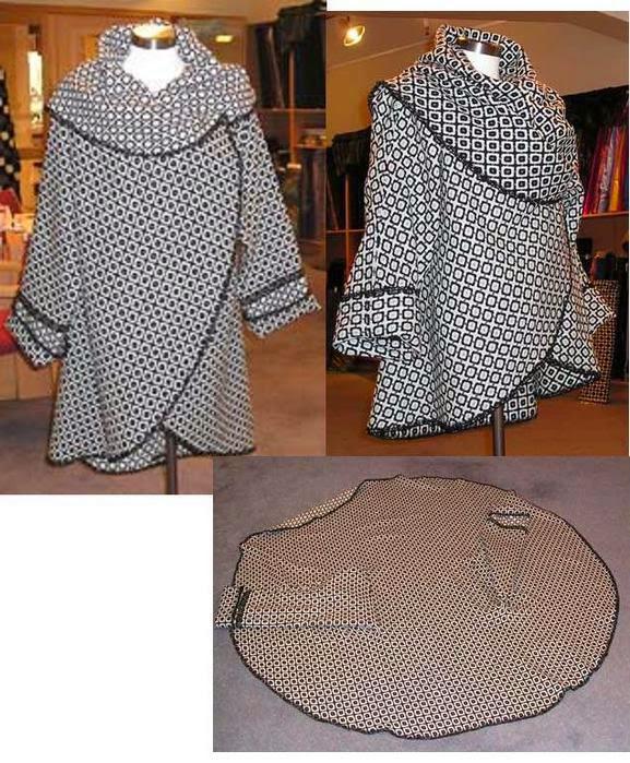 Patrón gratis de un abrigo hecho con un círculo de tela