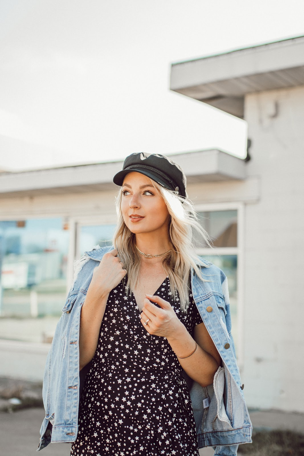 denim jacket + a captain's hat