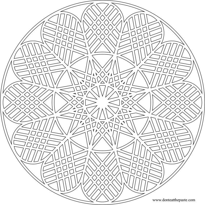 mandala geometric printable coloring pages | Don't Eat the Paste: Geometric Mandala