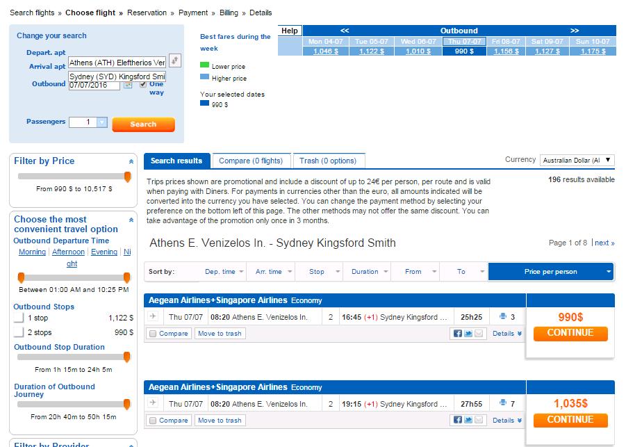 Bravofly Screenshot Flight Booking Process