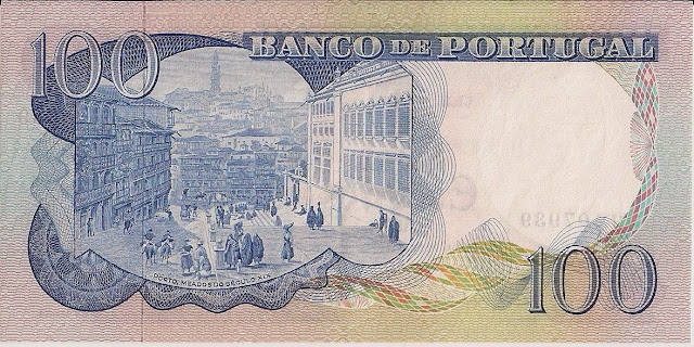 Portugal money currency 100 Escudos banknote 1978 city of Porto 19th century