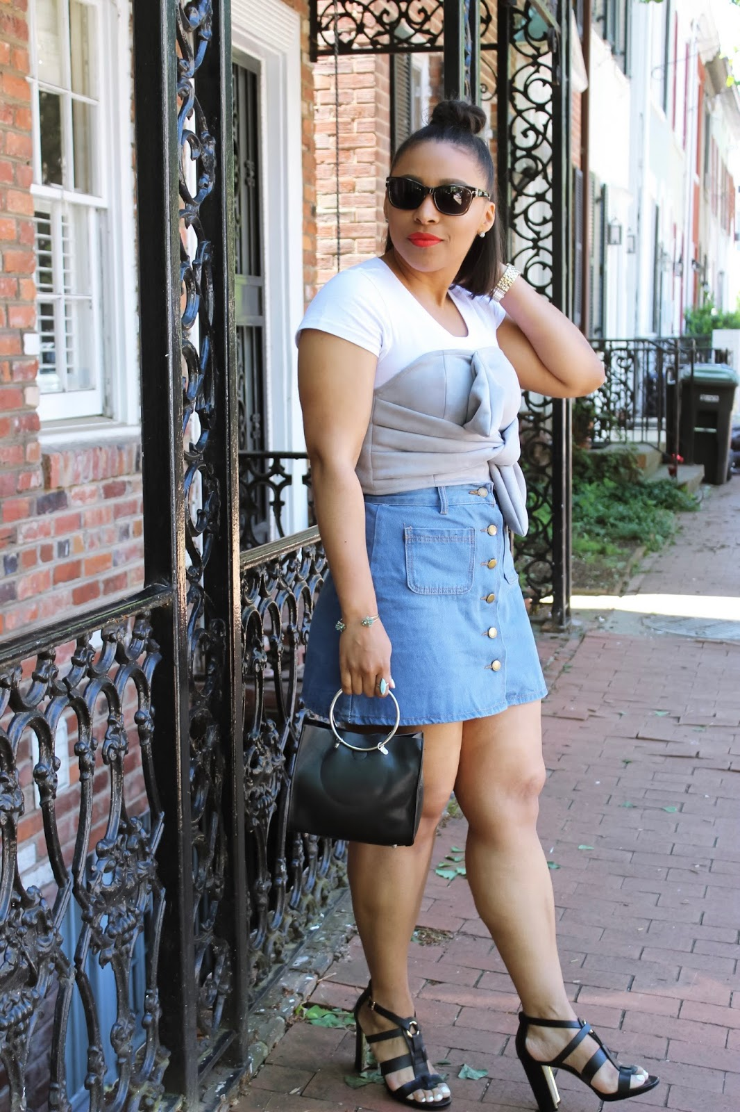 A Bow Crop Top | Summer Outfit Idea, flower eye wear, summer outfits, denim skirt, bow crop top, button down denim skirt, top bun hair ideas