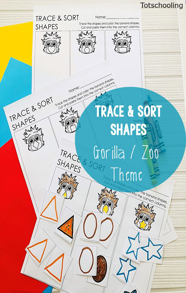 FREE printable Gorilla themed Shape learning activity for preschool, prek and kindergarten kids! Can be used as cut/paste, trace and sort,or can be laminated. Perfect for zoo or animal theme!