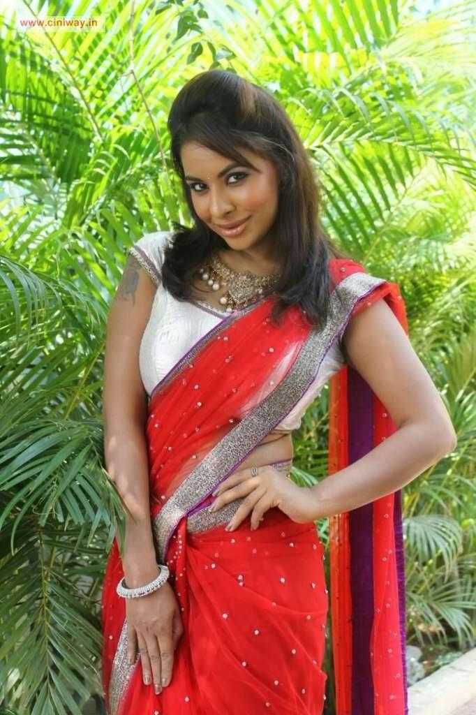 Actress Sri lekha Reddy Stills in Red Saree Navel Queens