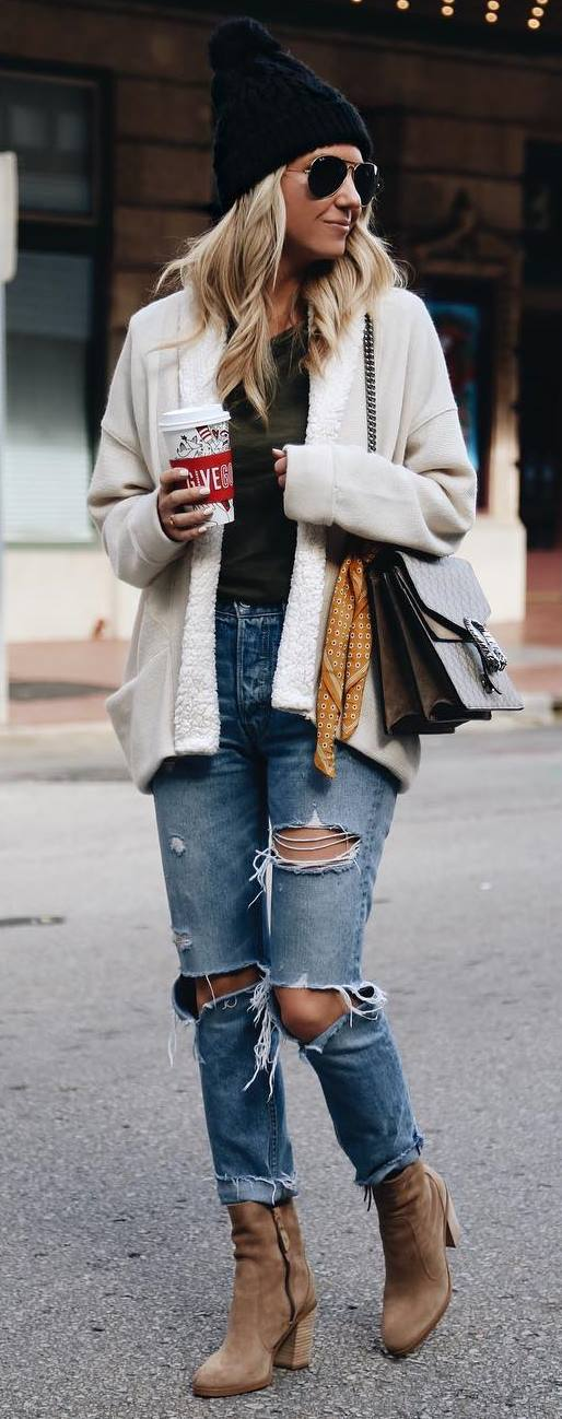 winter street style addiction / knit hat + bag + top + nude jacket + ripped jeans + boots