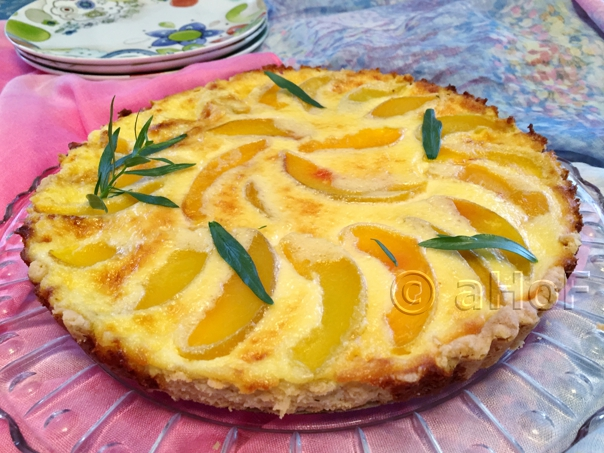 Peach Mascarpone Tart with Tarragon Shortbread Crust
