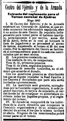 Recorte de La Correspondencia Militar del 4 de abril de 1902 sobre el primer campeonato de España individual de Ajedrez