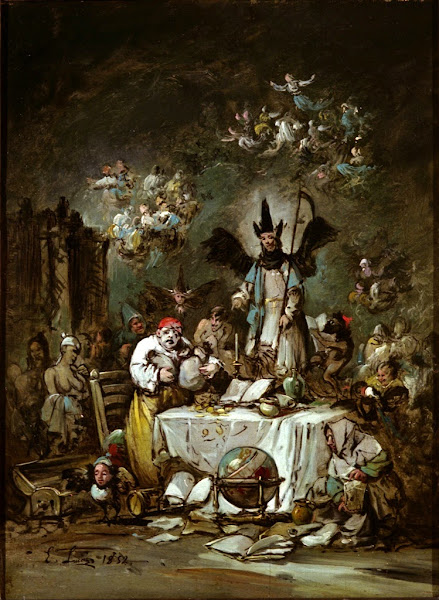 Allegorical caprice: The Avarice, Eugenio Lucas y Padilla, Macabre Art, Macabre Paintings, Horror Paintings, Freak Art, Freak Paintings, Horror Picture, Terror Pictures