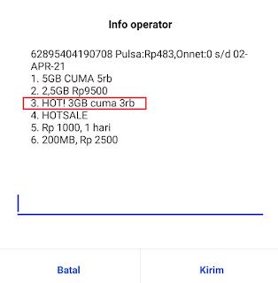 Cara Beli Paket Tri 3GB 3000