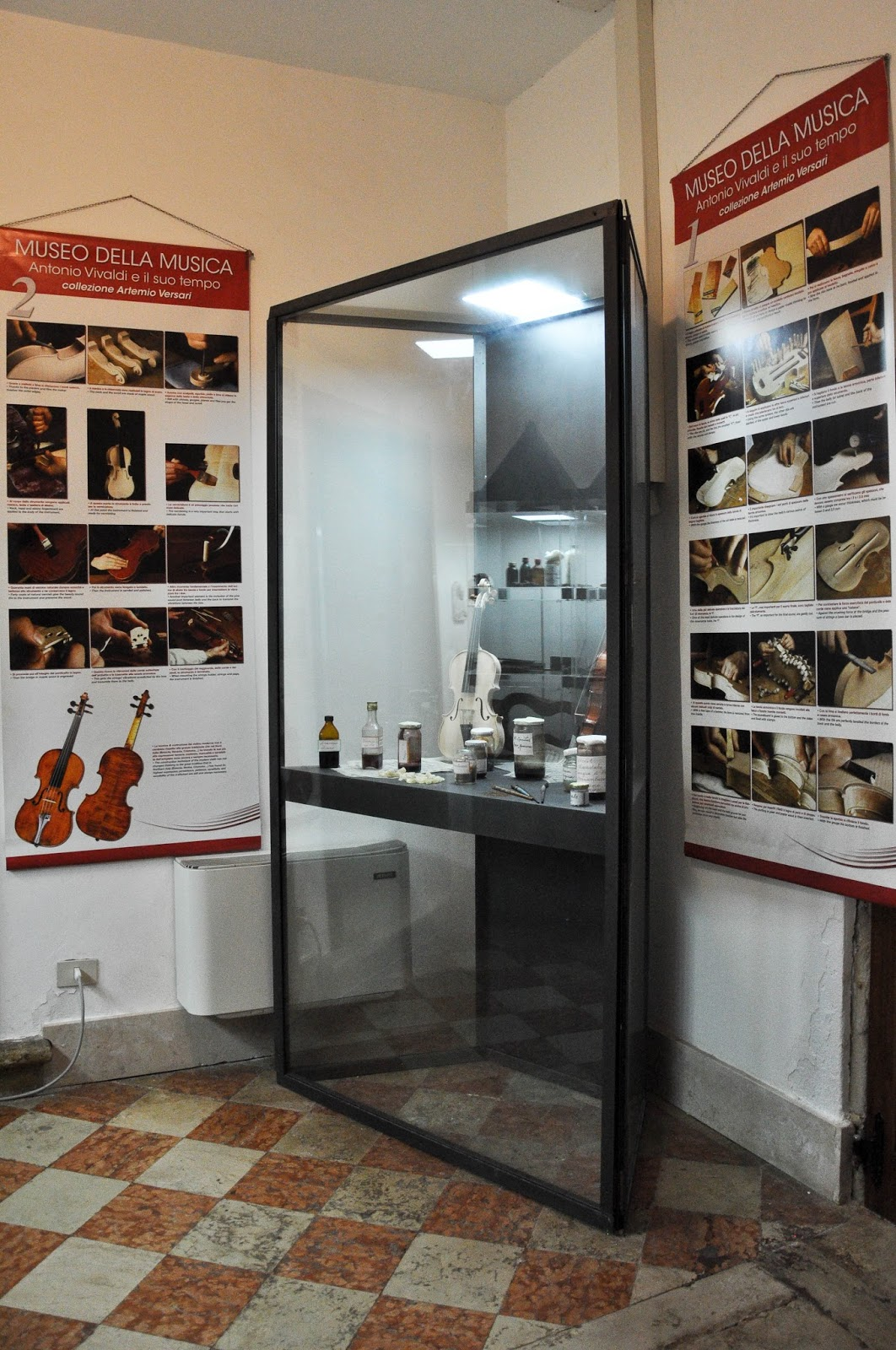 An exhibit case, Museum of the Music, Venice, Italy