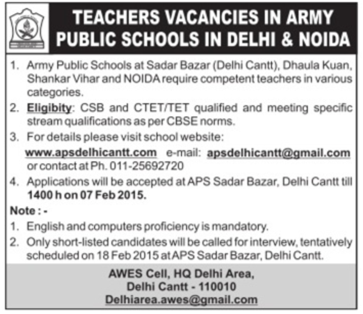 APS Delhi Cantt Recruitment 2015 Teachers