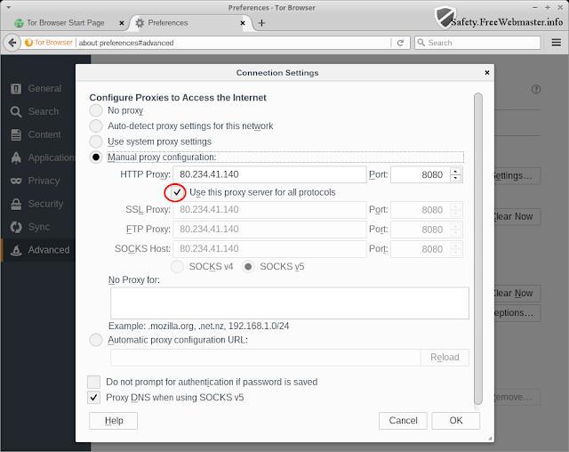 Окно настройки прокси-сервера браузера Tor