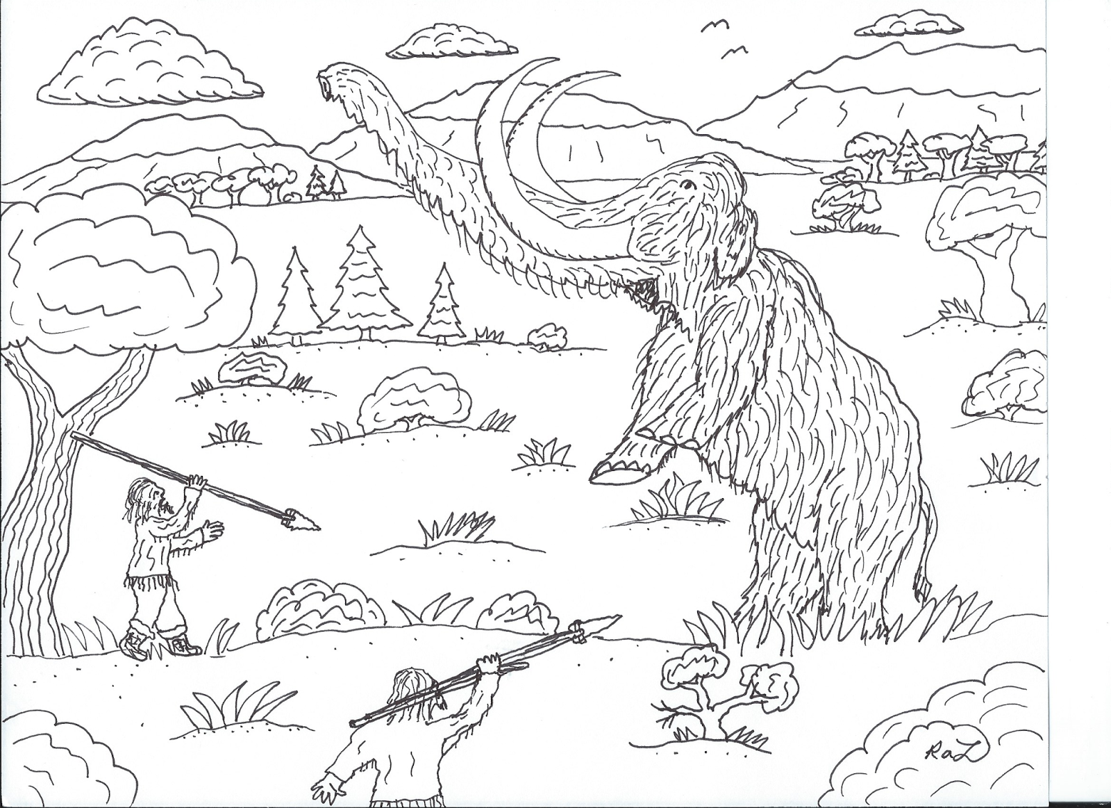Robin 39 s great coloring pages march 2017 for Wooly mammoth coloring page