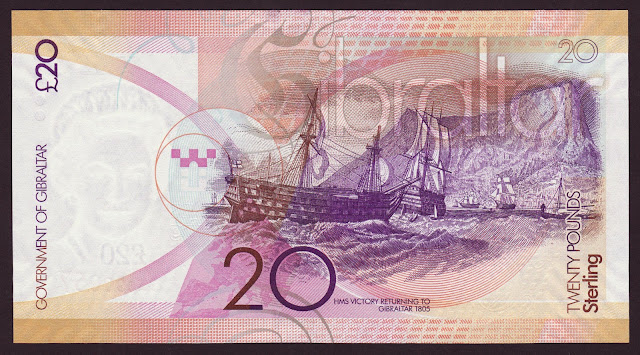 Gibraltar money currency 20 Pounds banknote 2011 HMS Victory Admiral Nelson's flagship