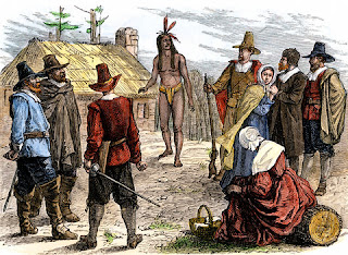 Samoset visiting pilgrim immigrants in Plymouth - 1620