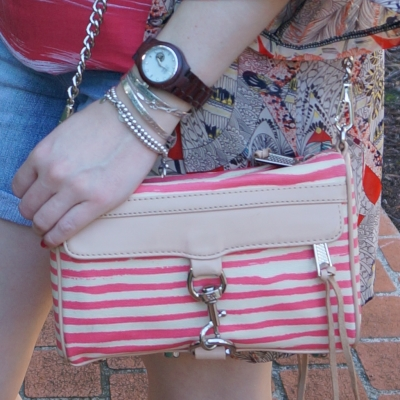 JORD wood watch, bracelet stack, Rebecca Minkoff striped coated canvas mini MAC in berry stripe | away from the blue