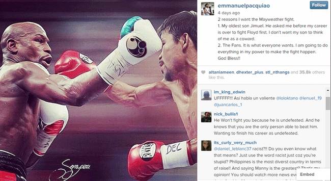 Two Reasons Why Manny Pacquiao is Eager to Fight Floyd Mayweather Jr