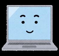 ノートパソコンのキャラクター(笑顔)