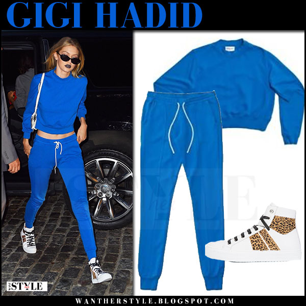 Gigi Hadid in bright blue sweatshirt and sweatpants cotton citizen celebrity street style july 2017