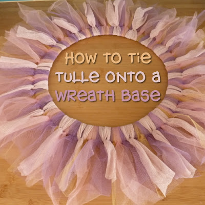 Tutorial on tying tulle netting around a wreath