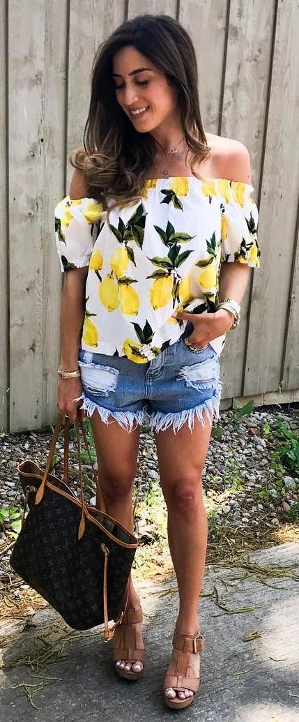 ootd: lemon printed top + denim shorts