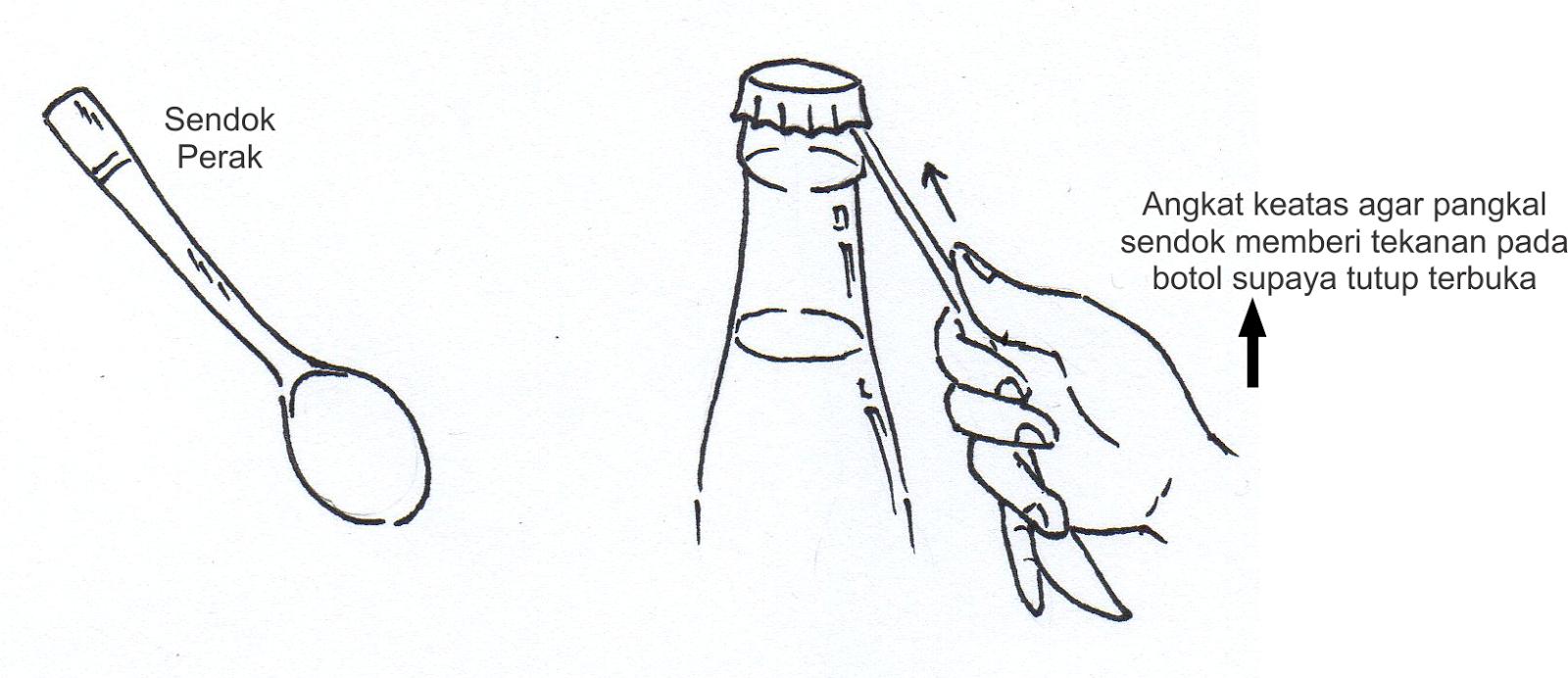 membuka botol dengan sendok via mistertukang.blogspot.co.id