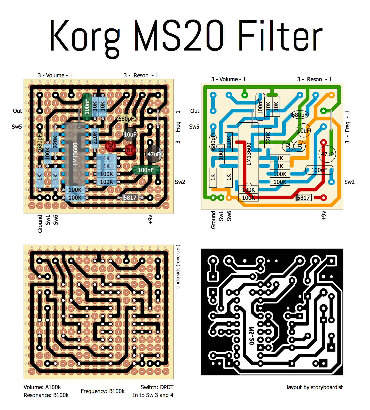 Perf and PCB Effects Layouts: Korg MS-20 Filter