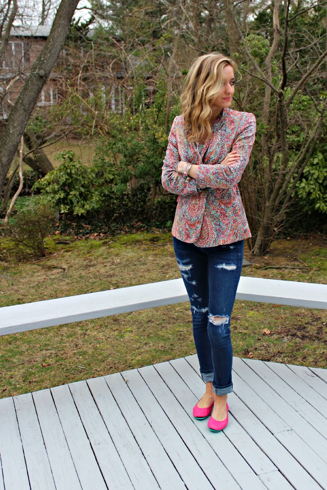 zara patterned blazer