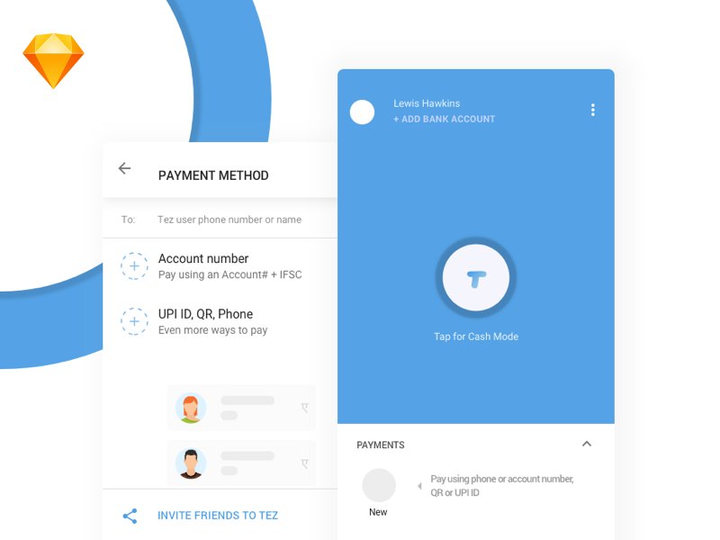 The new google payment app from google redesigned in Sketch app